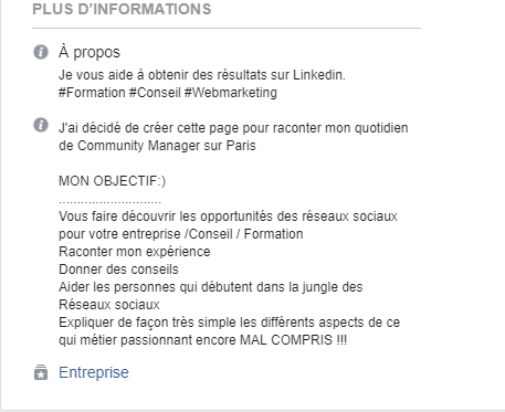 Exemple de description de page Facebook