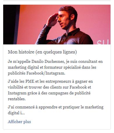 Histoire Page Facebook