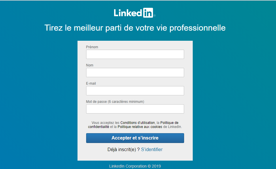 Inscription Linkedin 2