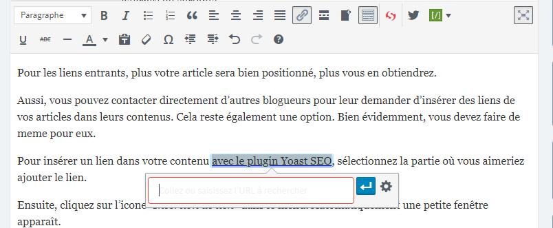 Insertion de lien dans un article SEO
