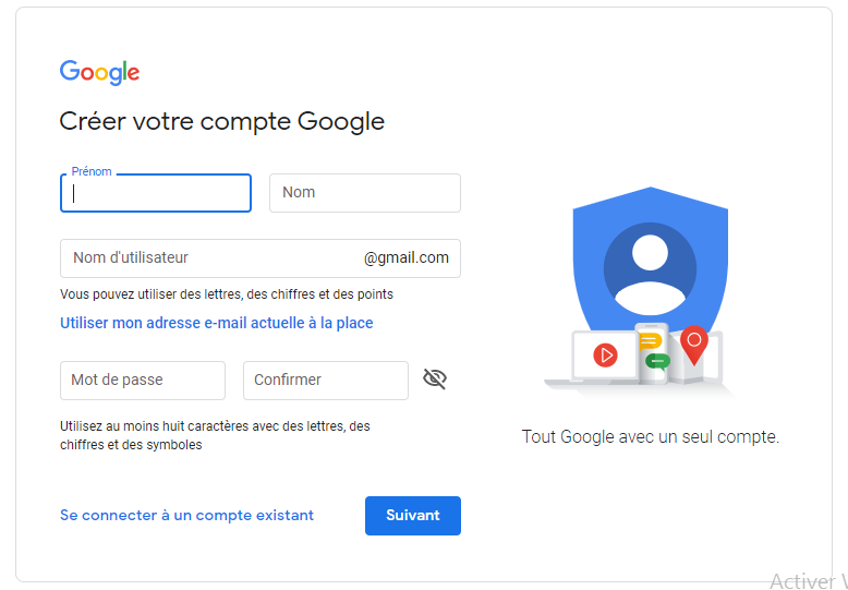 Création de compte Google pour YouTube
